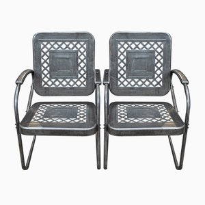 American Armchairs in Perforated Metal, 1950s, Set of 2