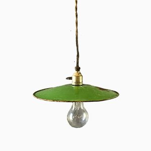 Vintage French Enameled Ceiling Lamp
