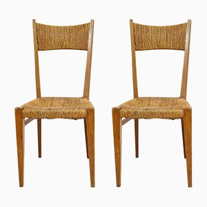 Vintage Straw Chairs, Set of 2