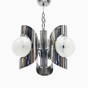 Italian Chromed Pendant Light, 1960s