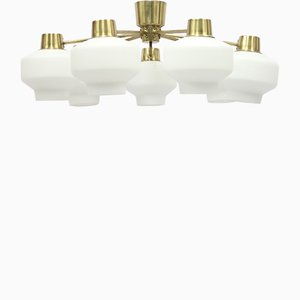 Swedish Brass and Opaline Glass 7 Light Chandelier by ASEA, 1950s