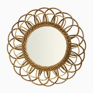 Flower Shaped Rattan Mirror, 1960s