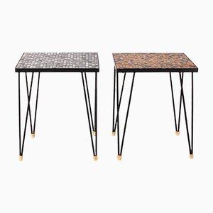 Tavolini vintage con mosaico e gambe a graffetta, anni '70, set di 2