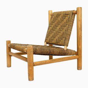 Low French Wood & Rope Chair by Adrien Audoux & Frida Minet, 1950s