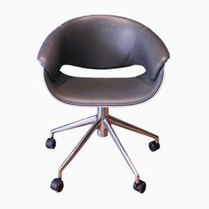 Chaise de Bureau Sina Pivotante Grise en Cuir par Uwe Fischer pour B&B Italia, 2008