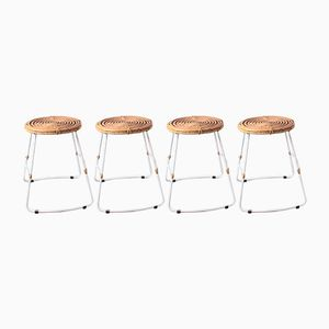 Vintage Stackable Metal & Rattan Stools, 1980s, Set of 4