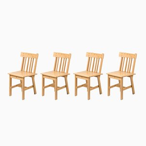 German Beech Chairs, 1980s, Set of 4