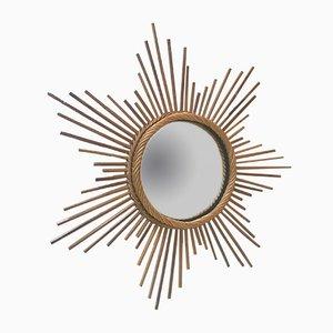 Vintage Rattan Sun Mirror, 1960s