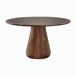 Solid & Lathed Walnut Table with Faux Leather Inlay from DALE Italia