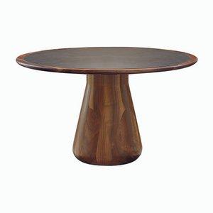 Tisch aus massivem gedrehtem Nussholz mit eingelassenem Kunstleder von DALE Italia