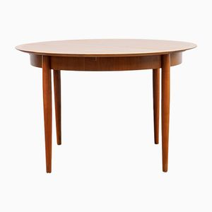 Round Walnut Dining Table from Lübke, 1960s
