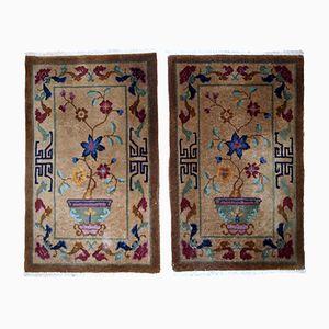 Handgefertigte chinesische Art Deco Teppiche, 1920er, 2er Set