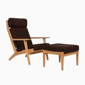 Modell GE290A & GE290S Sessel und Fußhocker aus Buche und Wolle von Hans J. Wegner für Getama, 1950er