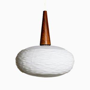 Lampe à Suspension en Verre Opalin & Teck par Louis Kalff pour Philips, 1960s