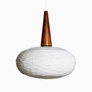 Opaline Glass and Teak Pendant Lamp by Louis Kalff for Philips, 1960s