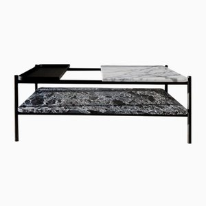 Bagnères Classic Series Coffee Table in Marble & Metal with Metal Shelf by Sylvain Willenz for Versant Edition