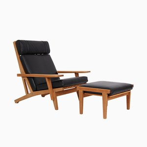 Model GE375 & GE375S Oak & Leather Lounge Chair and Stool by Hans J. Wegner for Getama, 1960s