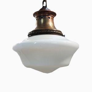 Lampe à Suspension en Verre Opalin, 1930s