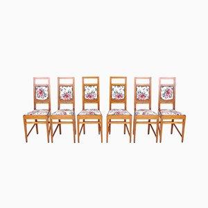 Stühle mit geblümten Sitzen von Piero Zen, 1930er, 6er Set