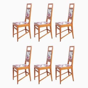 Chairs with Floral Seats by Piero Zen, 1930s, Set of 6