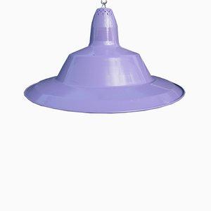 Lámpara colgante industrial vintage esmaltada en violeta