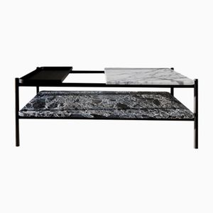 Bagnères Classic Series Coffee Table in Marble & Metal with Lower Shelf by Sylvain Willenz for Versant Edition