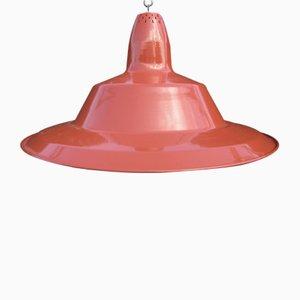 Lámpara colgante industrial vintage esmaltada en rojo