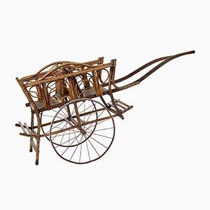 Vintage 2-Sitzer Kinderwagen aus Bambus