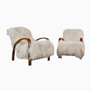 Mahogany & Sheepskin Lounge Chairs, 1960s, Set of 2