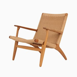 Model CH25 Solid Oak Lounge Chair with Papyrus Cord by Hans J. Wegner for Carl Hansen & Søn, 1969