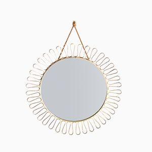 Specchio Mid-Century in ottone a forma di sole, anni '60