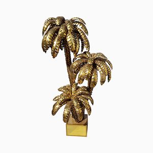 Extra Large Brass Palm Tree Floor Lamp from Maison Jansen, 1970s
