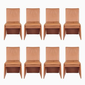 Italian Leather Chairs, 1970s, Set of 8