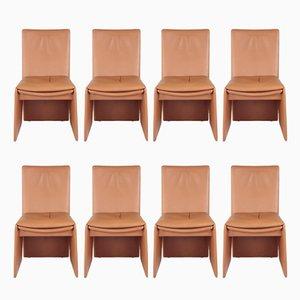Italienische Stühle aus Leder, 1970er, 8er Set