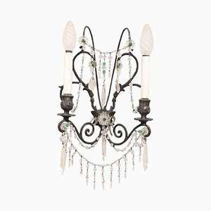 Art Nouveau Bronze and Crystal Applique, 1920s
