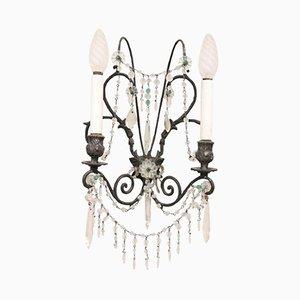 Jugendstil Wandleuchte aus Bronze & Kristallglas, 1920er