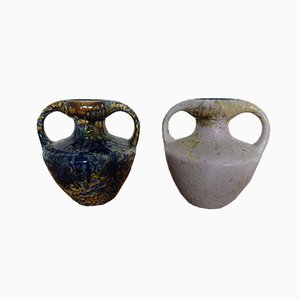 Ceramic Double Handled Fat Lava Vases from Marei, 1970s, Set of 2