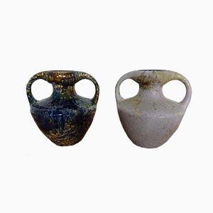 Jarrones Fat Lava de cerámica con doble mango de Marei, años 70. Juego de 2