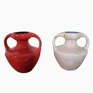 Fat Lava Keramikvasen mit Doppelgriffen von Marei, 1970er, 2er Set