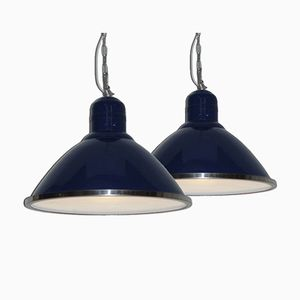 Large Blue Metal Factory Lights, 1970s, Set of 2