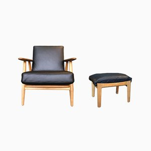 GE240 Cigar Chair with Ottoman by Hans J Wegner for Getama, 1950s