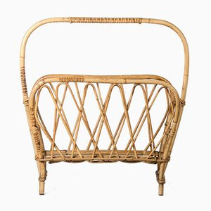 Rattan and Wicker Magazine Rack, 1960s