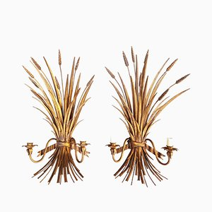 Italian Wheat Sheaf Wall Sconces in Gilt Metal, 1960s, Set of 2