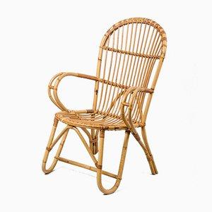 Französischer Sessel aus Rattan & Korbgeflecht, 1970er
