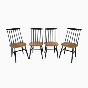 Vintage Fanett Chairs mit Holzstablehnen von Ilmari Tapiovaara für Edsby Verken, 4er Set