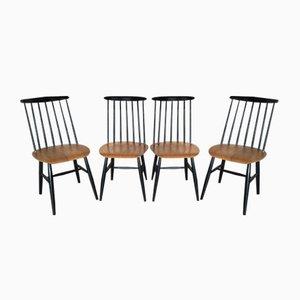 Vintage Fanett Spindle-Back Chairs by Ilmari Tapiovaara for Edsby Verken, Set of 4
