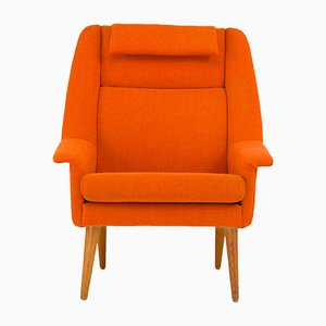 Mid-Century Danish Orange Lounge Chair by Folke Ohlsson for Fritz Hansen