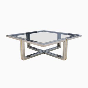 Vintage Brass & Chrome Coffee Table, 1970s