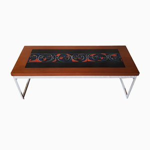 Vintage Coffee Table with Enamel Pattern