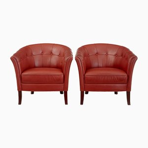 Leather Lounge Armchairs, 1970s, Set of 2